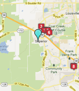 Map of Superior, CO hotels