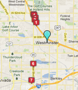 Map of Westminster, CO hotels