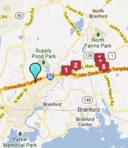 Map of Branford, CT hotels