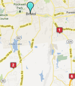 Map of Bristol, CT hotels