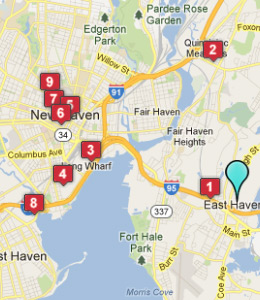 Map of East Haven, CT hotels