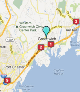 Map of Greenwich, CT hotels