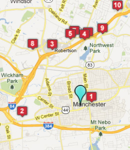 Map of Manchester, CT hotels