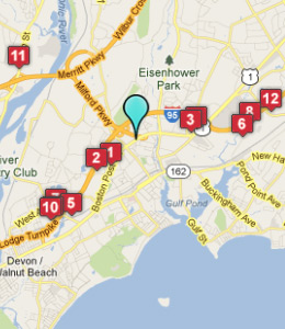 Map of Milford, CT hotels