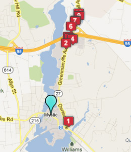Map of Mystic, CT hotels