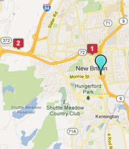 Map of New Britain, CT hotels