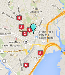 Map of New Haven, CT hotels