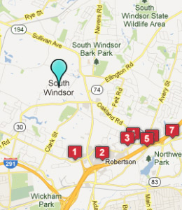 Map of South Windsor, CT hotels