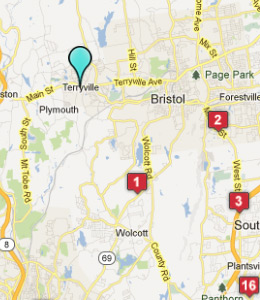 Map of Terryville, CT hotels