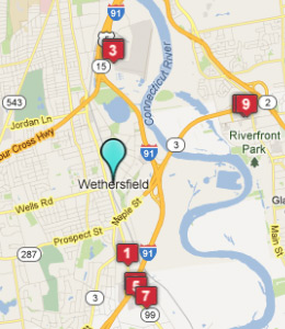 Map of Wethersfield, CT hotels