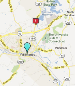 Map of Willimantic, CT hotels