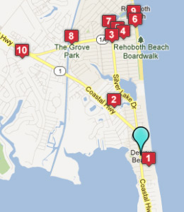 Map of Dewey Beach, DE hotels