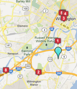 Map of Dunleith, DE hotels
