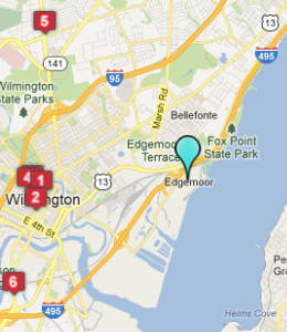 Map of Edgemoor, DE hotels