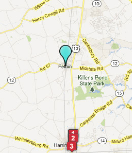 Map of Felton, DE hotels