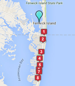 Map of Fenwick Island, DE hotels