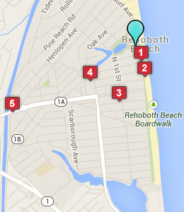 Map of Rehoboth Beach, DE hotels