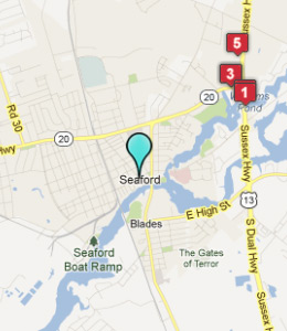 Map of Seaford, DE hotels