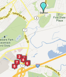 Map of Stanton, DE hotels