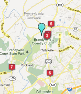 Map of Talleyville, DE hotels