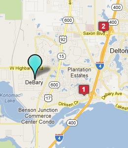 Map of Debary, FL hotels