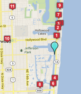 Map of Hollywood Beach, IN hotels