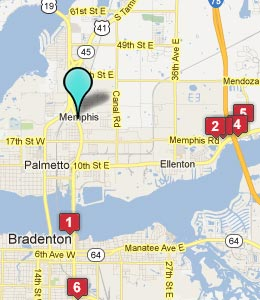 Map of Memphis, FL hotels