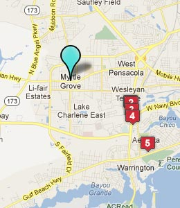 Map of Myrtle Grove, FL hotels