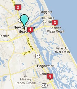 Map of New Smyrna Beach, FL hotels