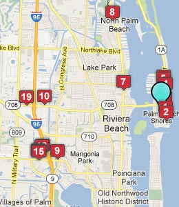 Map of Palm Beach Shores, FL hotels