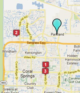 Map of Parkland, FL hotels
