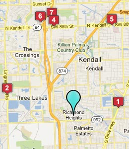 Map of Richmond Heights, FL hotels