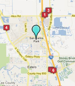 Map of San Carlos Park, FL hotels