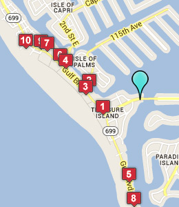 Map of Treasure Island, IN hotels