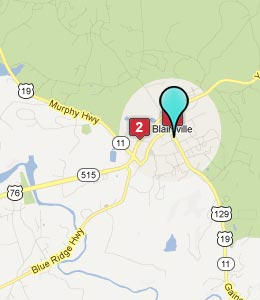 Map of Blairsville, GA hotels
