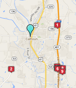 Map of Calhoun, GA hotels