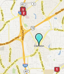 Map of Clarkston, GA hotels
