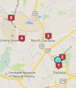 Map of Decatur, GA hotels