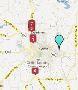 Map of East Griffin, GA hotels