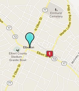 Map of Elberton, GA hotels