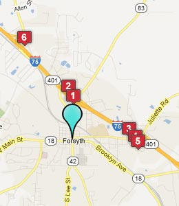 Map of Forsyth, GA hotels