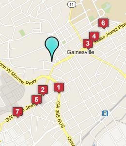 Map of Gainesville, GA hotels