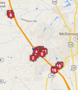 Map of Hampton, GA hotels