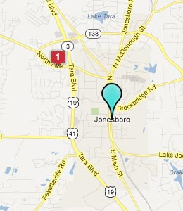 Map of Jonesboro, GA hotels