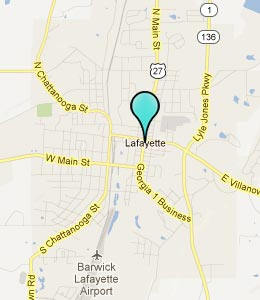 Map of LaFayette, GA hotels