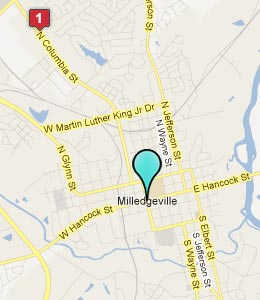 Map of Milledgeville, GA hotels