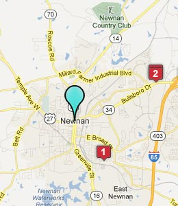Map of Newnan, GA hotels