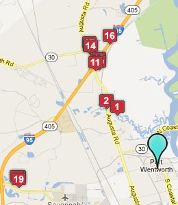 Map of Port Wentworth, GA hotels