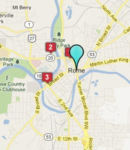 Map of Rome, GA hotels