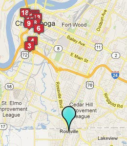 Map of Rossville, GA hotels